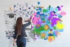Concetto di pensiero creativo ed analitico illustrazione di stock