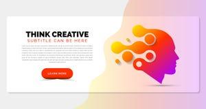 Concetto di pensiero creativo Modello dell'insegna nello stile moderno illustrazione di stock