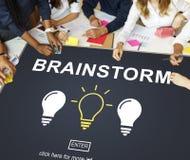 Concetto di pensiero di discussione creativa di idee di lampo di genio Immagini Stock