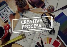 Concetto di pensiero di idee di visione di lampo di genio creativo di progettazione trattata Fotografia Stock