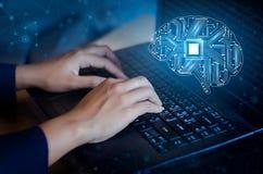 Concetto di pensiero fondo con l'argomento di simboli di tecnologia di serie di mente del CPU del cervello di informatica, artifi immagine stock libera da diritti