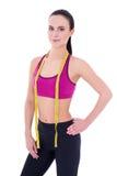 Concetto di perdita di peso e di dieta - bella donna esile con la misura immagini stock libere da diritti