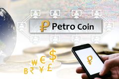 Concetto di Petro Coin del Venezuela, una piattaforma del blockchain di Cryptocurrency, royalty illustrazione gratis