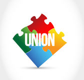 concetto di pezzi variopinto di puzzle del sindacato Fotografia Stock