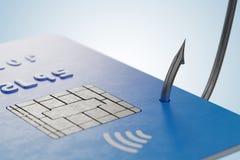 Concetto di Phishing Rubare la carta di credito con il gancio di pesca 3D ha reso l'illustrazione Immagine Stock Libera da Diritti