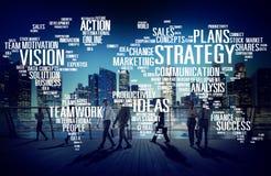 Concetto di pianificazione della missione di visione del mondo di analisi di strategia Fotografie Stock