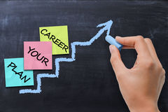 Concetto di pianificazione di carriera con l'indice colorato di Post-it sulla lavagna attinta gesso della scala Immagini Stock Libere da Diritti