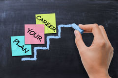 Concetto di pianificazione di carriera con l'indice colorato di Post-it sulla lavagna attinta gesso della scala Immagine Stock Libera da Diritti