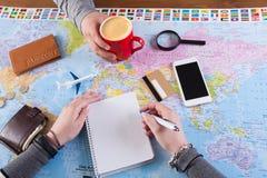 Concetto di pianificazione di viaggio, vista superiore Fotografia Stock Libera da Diritti