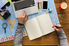 Concetto di pianificazione di viaggio, vista superiore Immagine Stock