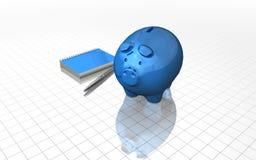 Concetto di pianificazione finanziaria con il porcellino salvadanaio blu Fotografie Stock Libere da Diritti