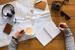 Concetto di pianificazione di viaggio, vista superiore Fotografie Stock