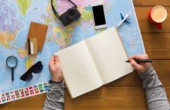 Concetto di pianificazione di viaggio, vista superiore Fotografia Stock