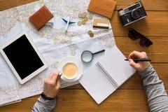 Concetto di pianificazione di viaggio, vista superiore Immagini Stock Libere da Diritti