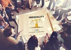 Concetto di polarizzazione di pregiudizio delle vittime di squilibrio di diseguaglianza Fotografia Stock