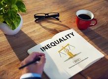 Concetto di polarizzazione di pregiudizio delle vittime di squilibrio di diseguaglianza Fotografia Stock Libera da Diritti