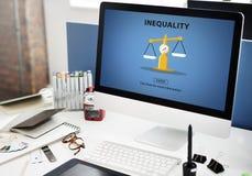 Concetto di polarizzazione di pregiudizio delle vittime di squilibrio di diseguaglianza Immagine Stock