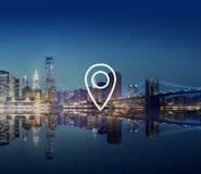 Concetto di posizione di viaggio della destinazione di navigazione di posizione Fotografia Stock