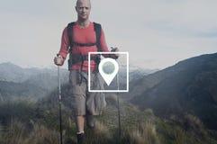 Concetto di posizione di viaggio della destinazione di navigazione di posizione Fotografia Stock Libera da Diritti