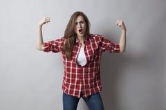 Concetto di potere della ragazza con il gesto di mano mascolino Immagine Stock Libera da Diritti
