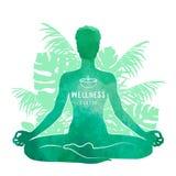 Concetto di pratica di yoga, di rilassamento e di meditazione Siluetta dell'acquerello illustrazione di stock