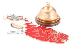 Concetto di prenotazione di Malta Bandiera con la campana di chiave e di ricezione dell'hotel, 3 Immagini Stock