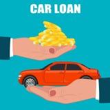 Concetto di prestito di automobile, illustrazione di vettore Immagine Stock