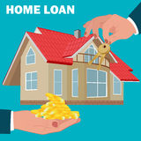 Concetto di prestito immobiliare, ipoteca, progettazione piana, illustrazione di vettore Immagini Stock Libere da Diritti