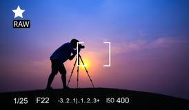 Concetto di previsione di fotografia di memorie di bloccaggio del fuoco della macchina fotografica fotografie stock libere da diritti