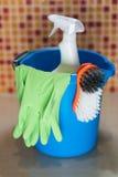 Concetto di prodotti di pulizia Fotografia Stock