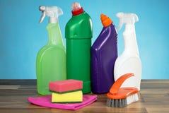 Concetto di prodotti di pulizia Immagini Stock