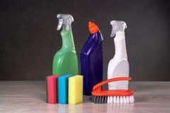 Concetto di prodotti di pulizia Fotografie Stock Libere da Diritti