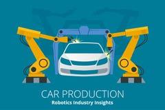 Concetto di produzione dell'automobile o delle case automobilistiche Comprensioni di industria di robotica Fotografie Stock