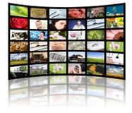 Concetto di produzione della televisione. Comitati di film della TV fotografie stock libere da diritti