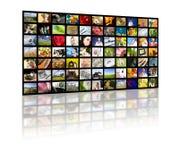 Concetto di produzione della televisione. Comitati di film della TV fotografia stock
