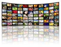 Concetto di produzione della televisione. Comitati di film della TV Immagini Stock Libere da Diritti