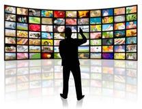 Concetto di produzione della televisione. Pannelli di film della TV illustrazione di stock