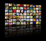 Concetto di produzione della televisione. Pannelli di film della TV fotografie stock