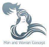Concetto di profilo della donna e dell'uomo Fotografie Stock