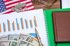 Concetto di profitti e di affari con il grafico, dollaro degli S.U.A., monete fotografia stock