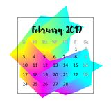 Concetto di progetto di 2019 calendari Febbraio 2019 royalty illustrazione gratis