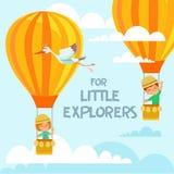 Concetto di progetto con i bambini svegli che volano sugli aerostati nel cielo Fotografia Stock
