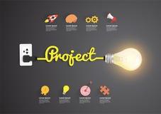 Concetto di progetto con l'idea creativa della lampadina Fotografie Stock