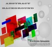 Concetto di progetto creativo dell'elemento quadrato geometrico variopinto astratto sul testo bianco e grigio del campione e del  Immagine Stock Libera da Diritti