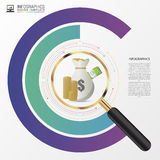 Concetto di progetto del grafico di analisi degli investimenti con la lente d'ingrandimento Vettore Fotografie Stock Libere da Diritti