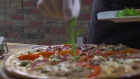 concetto di progetto dell'alimento Creatore della pizza che decora pizza cucinata con le erbe fresche in pizzeria italiana Prepar video d archivio