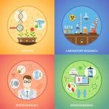 Concetto 2x2 di progetto della genetica e di biotecnologia illustrazione di stock