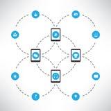 Concetto di progetto della rete con i pc della compressa e le varie icone Immagini Stock Libere da Diritti