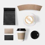 Concetto di progetto della tazza della carta, della borsa, del caffè, del coperchio e di caffè del modello Immagine Stock Libera da Diritti