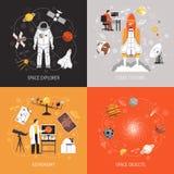 Concetto di progetto di astronomia 2x2 royalty illustrazione gratis